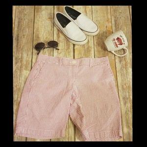 Ann Taylor LOFT Red & White Seersucker Shorts sz 0